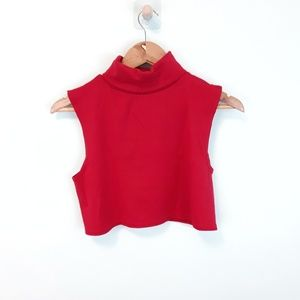 White Stag Red Turtleneck Sleeveless Crop Top